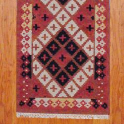 Indo Hand-knotted Kilim Rust/ Black Wool Rug (2'6 x 10) - Thumbnail 2