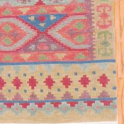 Indo Hand-knotted Kilim Blue and Red Wool Rug (4 x 6) - Thumbnail 2