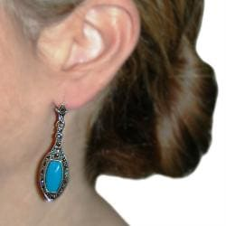 Cano Antiqued Silver-plating Blue Resin Stone Earrings - Thumbnail 2