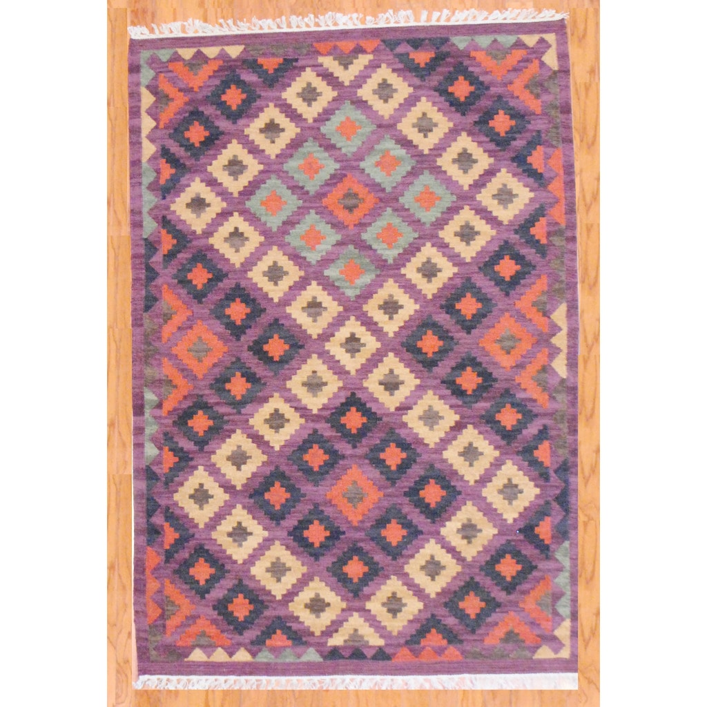 Indo Hand-knotted Kilim Beige and Purple Wool Rug (4 x 6)