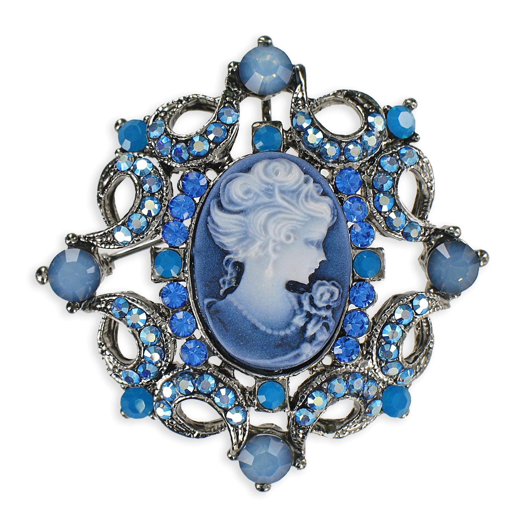 Cano Silvertone Blue Crystal Cameo Brooch