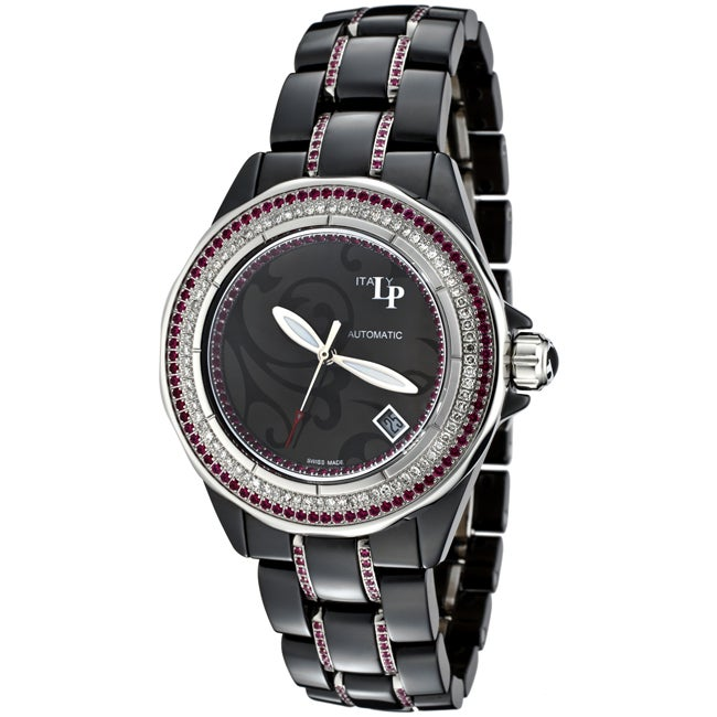 Lucien Piccard Italy Women's 'Celano' Black Ceramic and Stainless Steel Watch