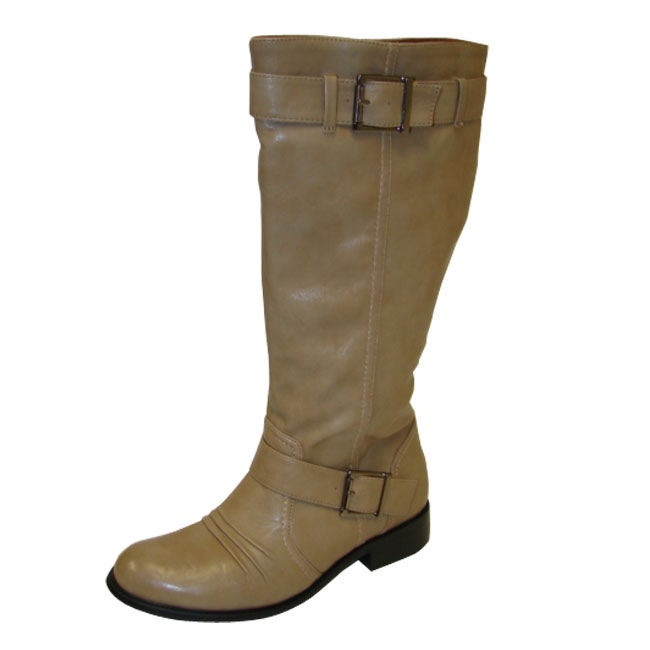 Bucco Women's Mid-Calf Taupe Riding Boots