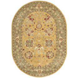Safavieh Handmade Traditions Gold/ Sage Oval Wool Rug (4'6 x 6'6)