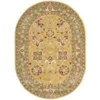 "Safavieh Handmade Traditions Gold/ Sage Oval Wool Rug - 4'6"" x 6'6"" oval"