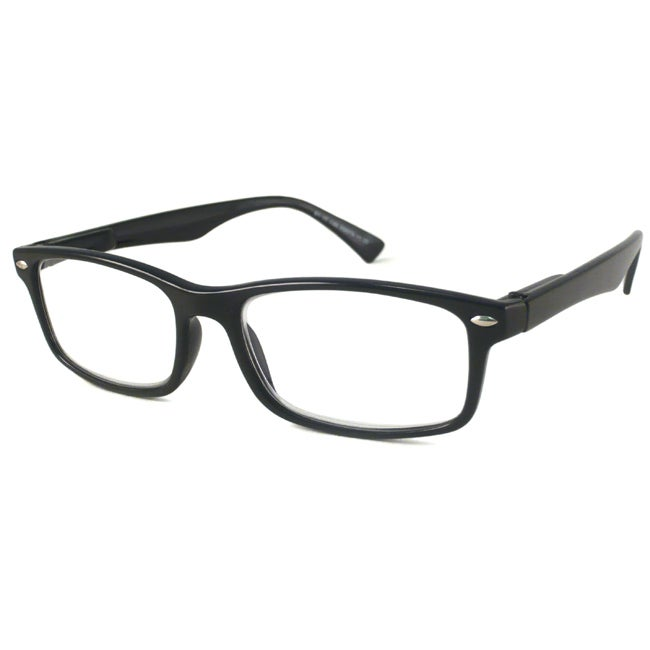 Urban Eyes Men's 'UE9979' Black Rectangular Reading Glasses