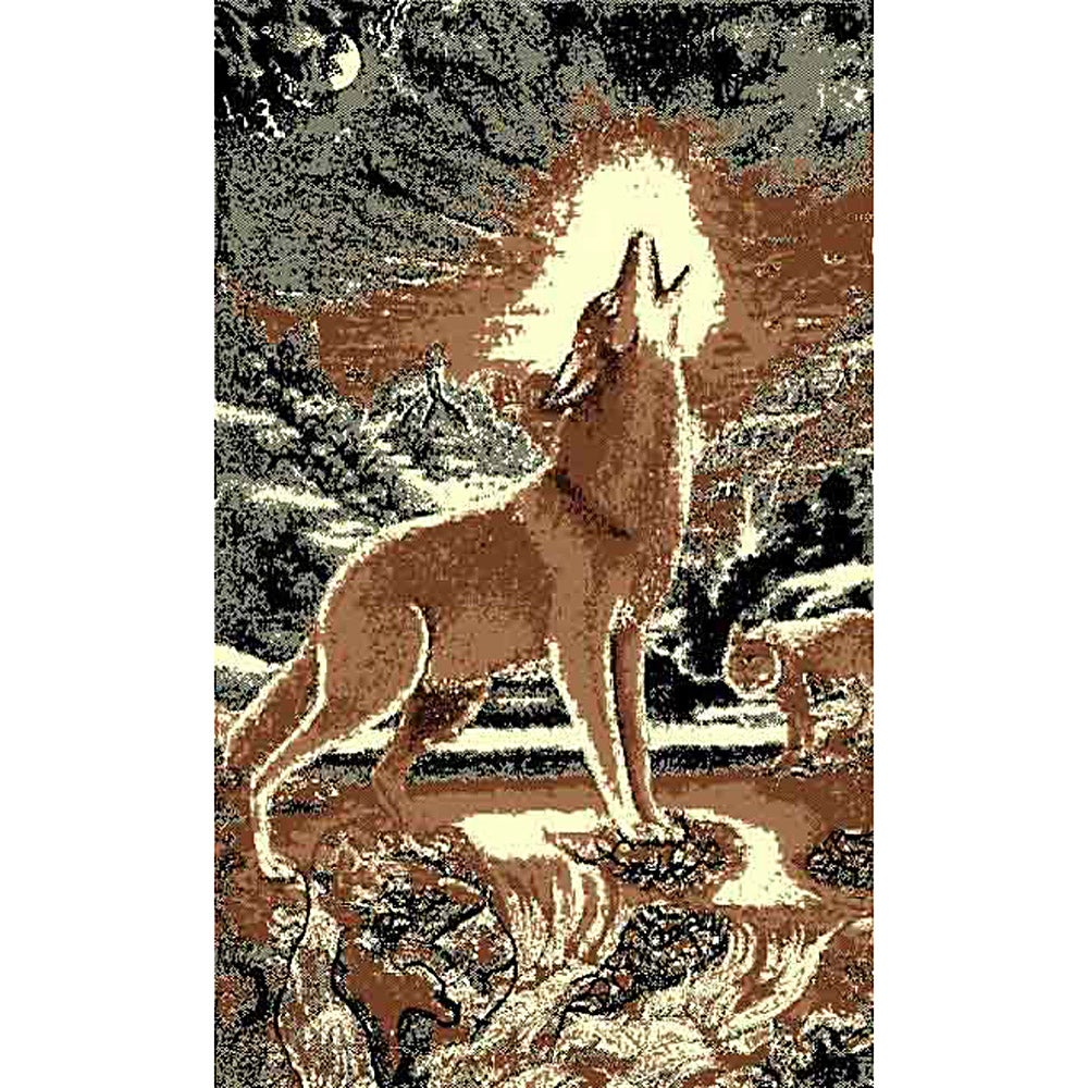 Shop African Adventure Howling Wolf On Rock Brown Area Rug