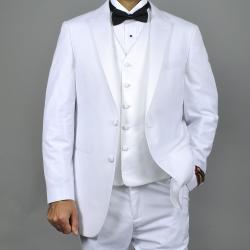 Viscose Custom-fit Two-button Vested White Tuxedo