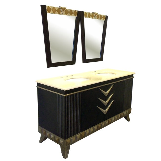Sydney 63-Inch Double Bowl Vanity Cabinet & Mirrors