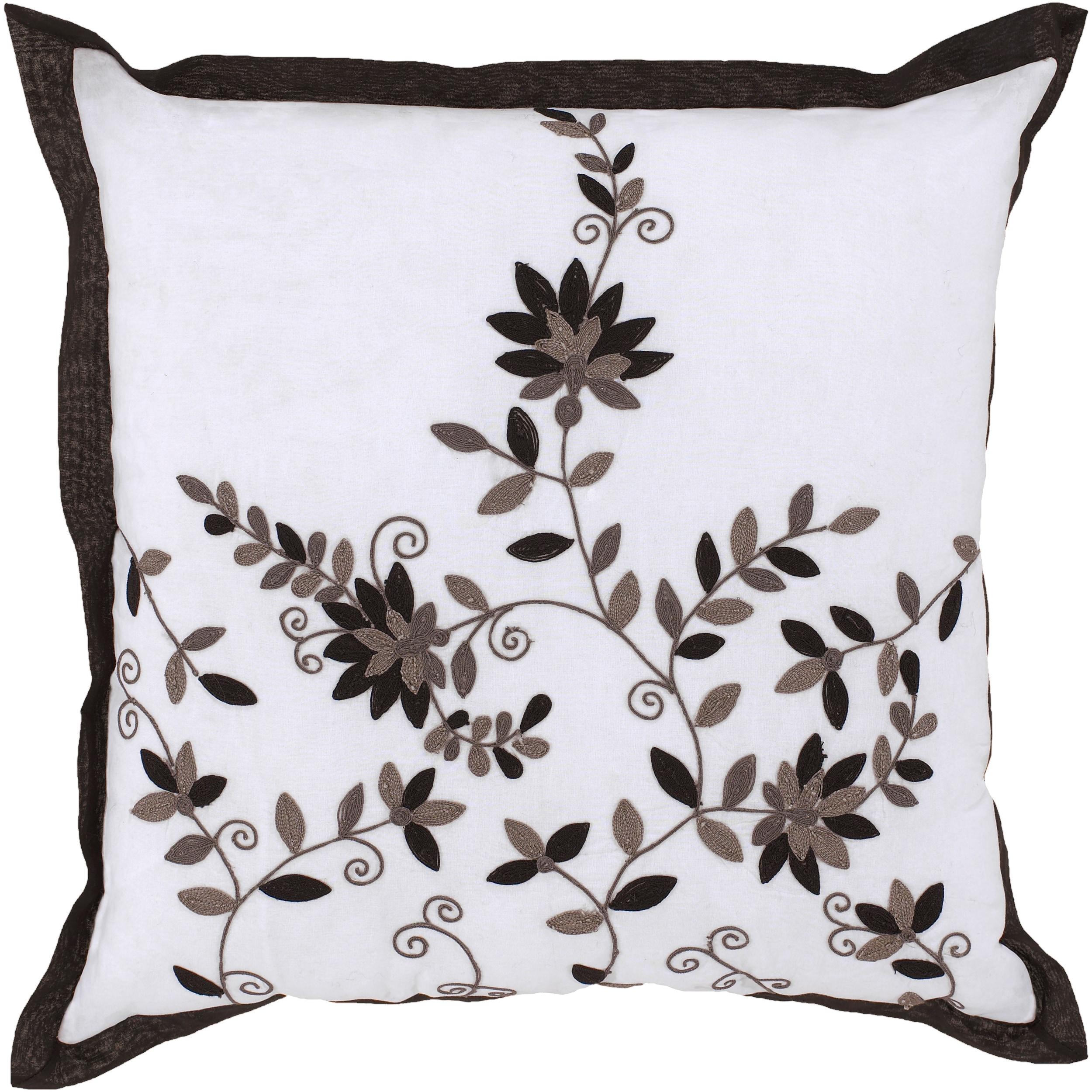 Beil White/ Black Floral Decorative Pillow