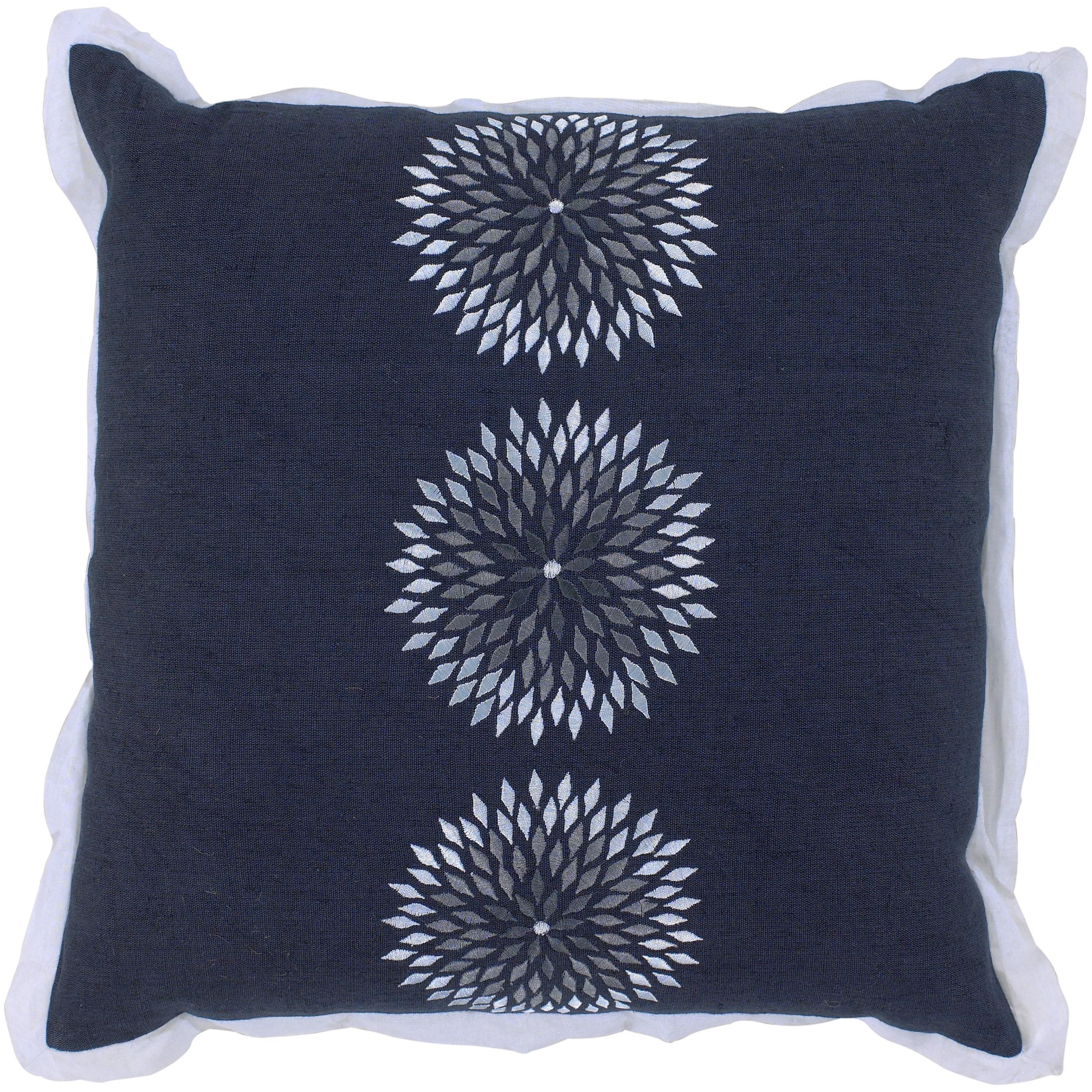 Zurich Navy Blue Floral Decorative Pillow