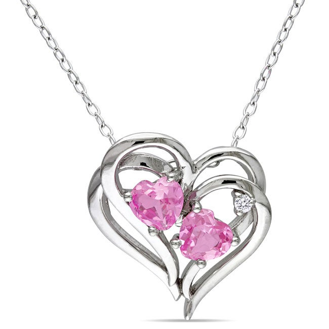Miadora Silver Created Pink Sapphire and Diamond Accent Necklace (1 1/5ct TGW)