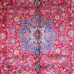 Persian Hand-knotted Tabriz Red/ Navy Wool Rug (10' x 13')