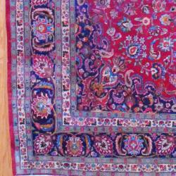 Persian Hand-knotted Mashad Red/ Navy Wool Rug (9'8 x 12'9) - Thumbnail 2