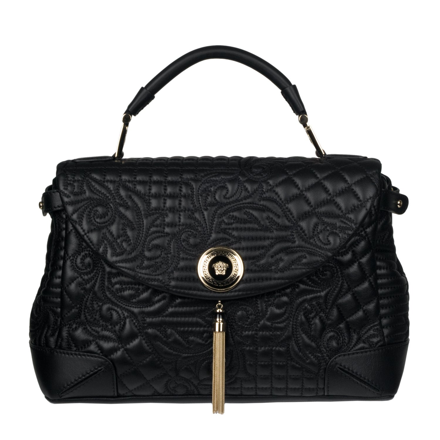 22340ae4f384 Shop Versace Black Embroidered Leather Satchel - Free Shipping Today -  Overstock.com - 6448911