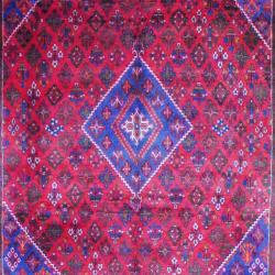 Persian Hand-knotted Josheghan Red/ Navy Wool Rug (9'7 x 13'2) - Thumbnail 1