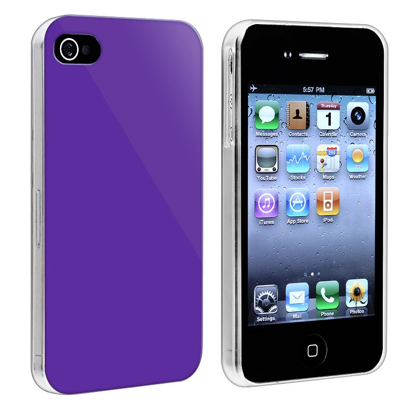 Dark Purple with Clear Side Snap-on Case for Apple iPhone 4/ 4S