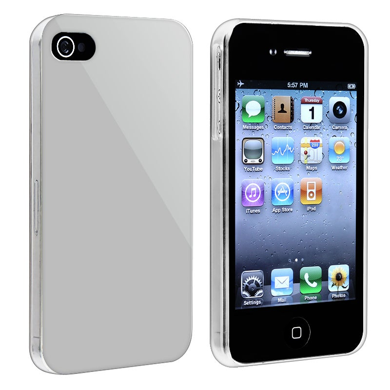Silver with Clear Side Snap-on Case for Apple iPhone 4/ 4S