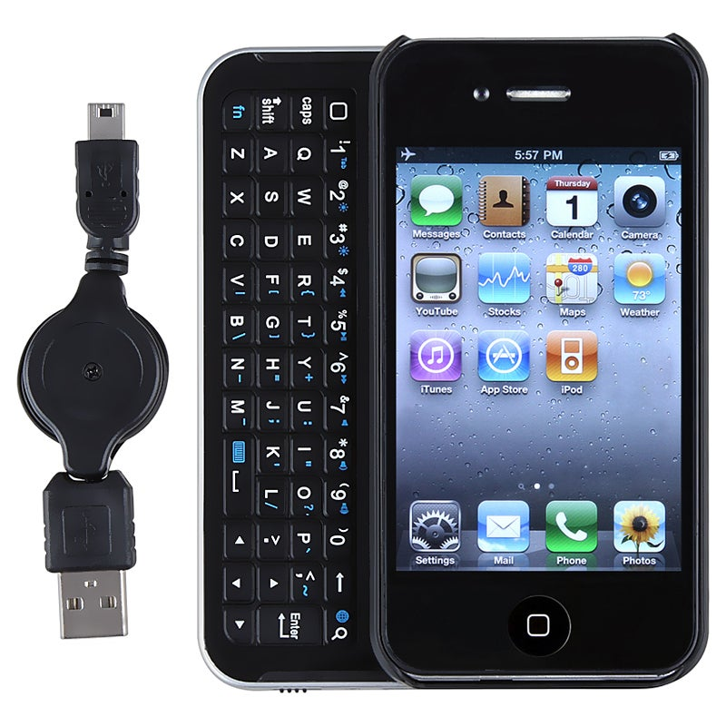 Black/ Silver Sliding Bluetooth Keyboard/ USB Cable for Apple iPhone 4 - Thumbnail 0