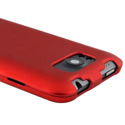 Red Snap-on Rubber Coated Case for HTC Titan