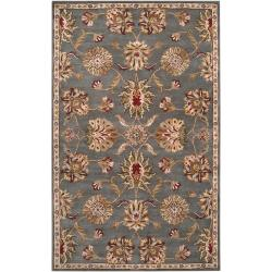Hand-Tufted Cambuslang Grey/Red Traditional Border Wool Rug (9' X 12')