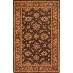 Hand-Tufted Bearsden Brown Floral Border Wool Rug (7'6 X 9'6)
