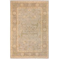 Hand-Knotted Falkirk Cream/Blue Traditional Border New Zealand Wool Area Rug (9' x 13') - 9' x 13' - Thumbnail 0