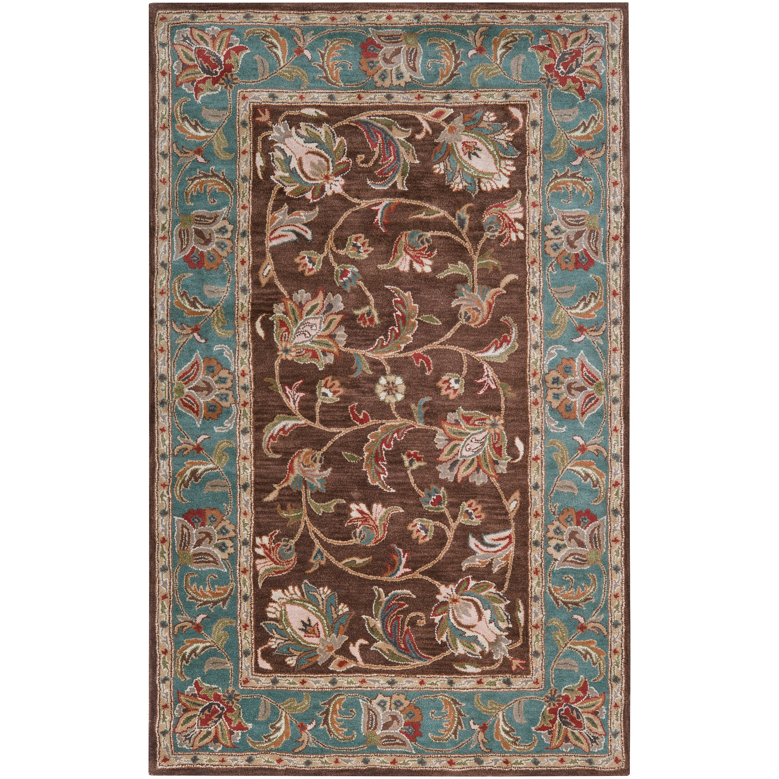 Hand Tufted Saale Brown Teal Traditional Border Wool Rug