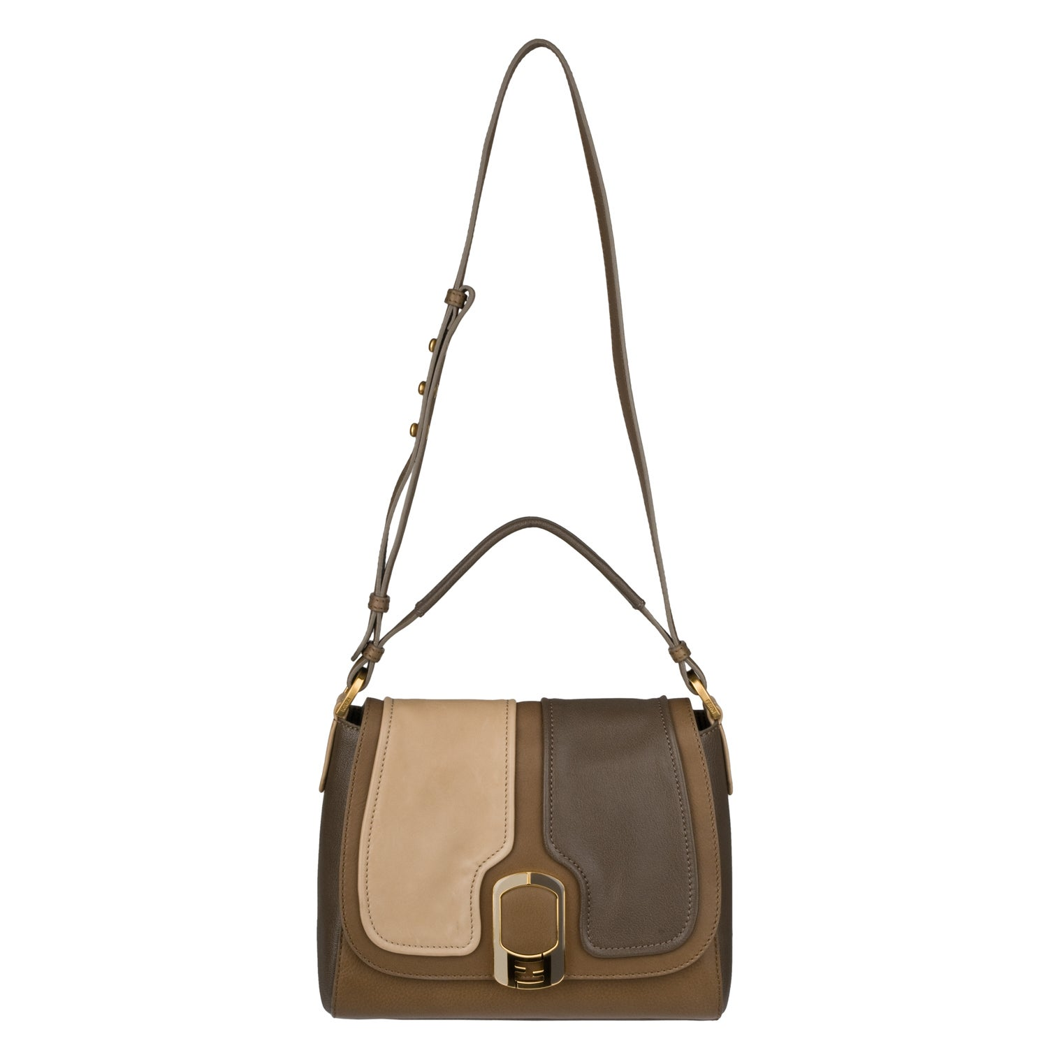 Fendi 'Anna' Light Brown/Beige/Taupe Leather Shoulder Flap Bag