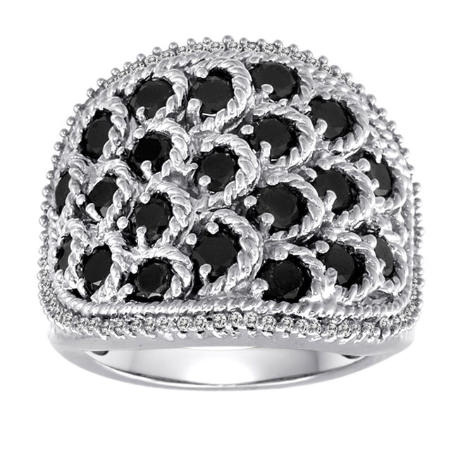 Sterling Silver 2ct TDW Black and White Diamond Cocktail Ring (I-J, I2-I3)