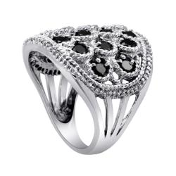 Sterling Silver 2ct TDW Black and White Diamond Cocktail Ring (I-J, I2-I3) - Thumbnail 1