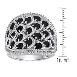 Sterling Silver 2ct TDW Black and White Diamond Cocktail Ring (I-J, I2-I3) - Thumbnail 2