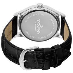 Grovana Men's Silver Dial Black Leather Strap Watch