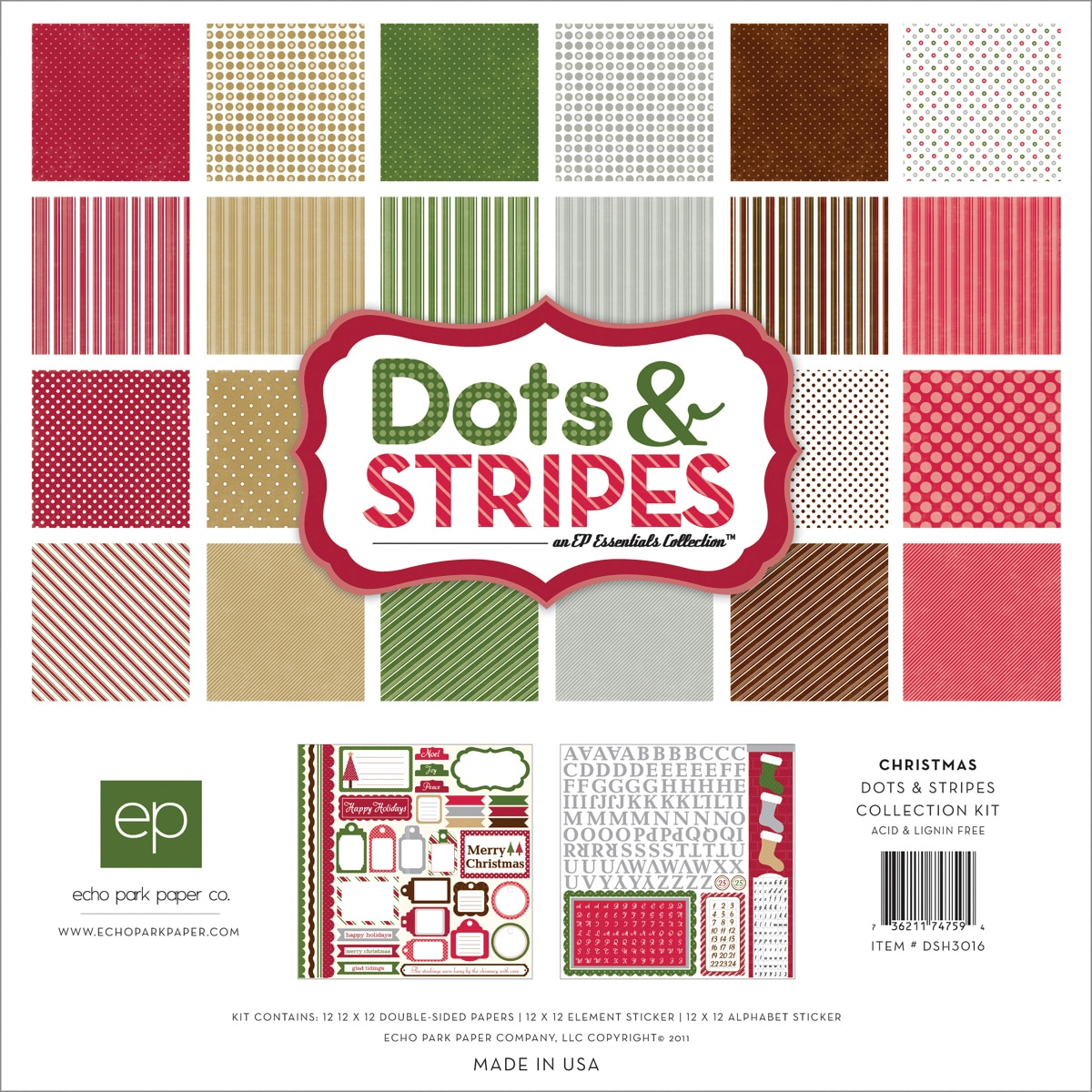 Echo Park Paper 'Christmas Dots and Stripes' Collection Kit