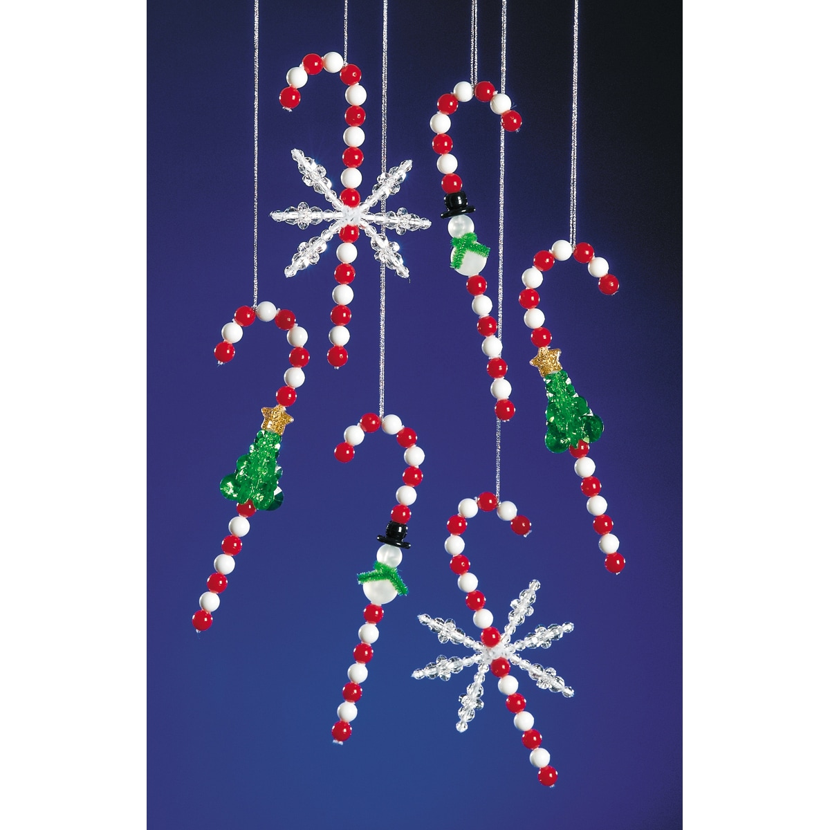 Festive Candy Canes Holiday Beaded Ornament Kit
