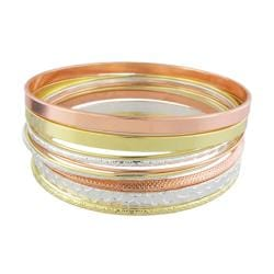 Tri-color Textured 11-piece Bangle Bracelet Set - Thumbnail 1