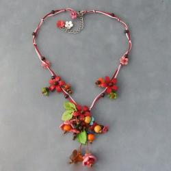Red Glass Bead Floral Garden Leather Necklace