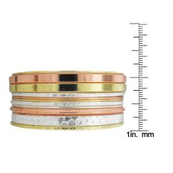 Tri-color Textured 11-piece Bangle Bracelet Set - Thumbnail 2