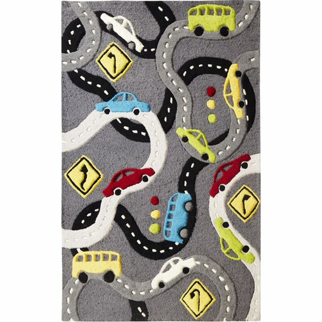 nuLOOM Handmade Kids Streets and Cars Wool Rug (5' x 7')