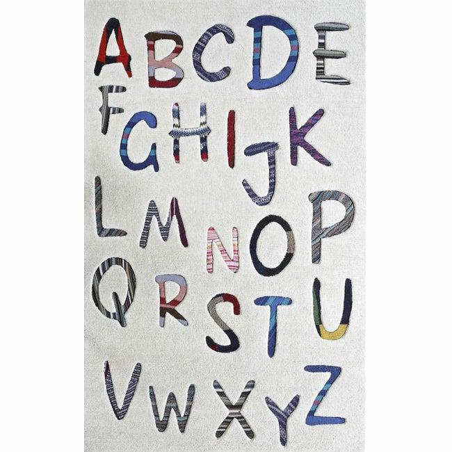 nuLOOM Handmade Kids Alphabets New Zealand Wool Rug (3'6 x 5'6)