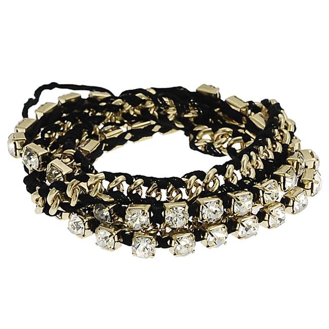 Goldtone Rhinestone Link Wrap-around Bracelet