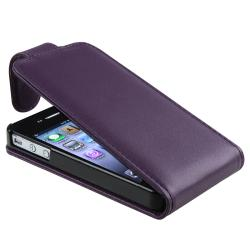 Eforcity Purple Synthetic Leather Case for Apple iPhone 4/4S - Thumbnail 2