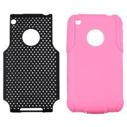 Pink Skin/ Black Mesh Hybrid Case for Apple iPhone 3G/ 3GS - Thumbnail 2