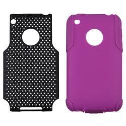 Purple Skin/ Black Mesh Hybrid Case for Apple iPhone 3G/ 3GS