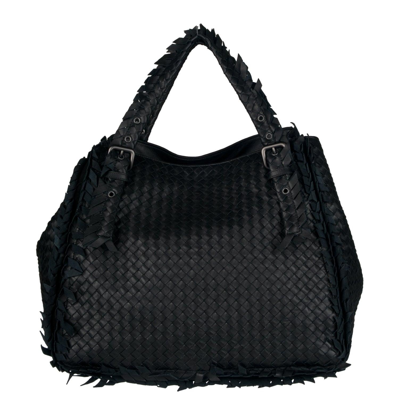 Bottega Veneta Fringed/ Woven Black Leather Tote