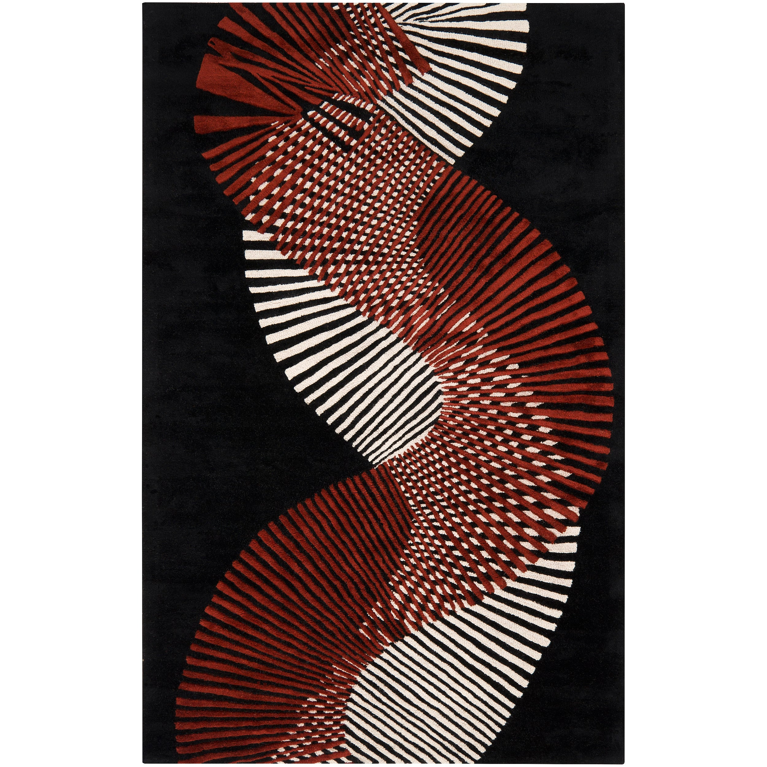 Hand-tufted Contemporary Black/Red Striped Artist Studio New Zealand Wool Abstract Rug (5' x 8')