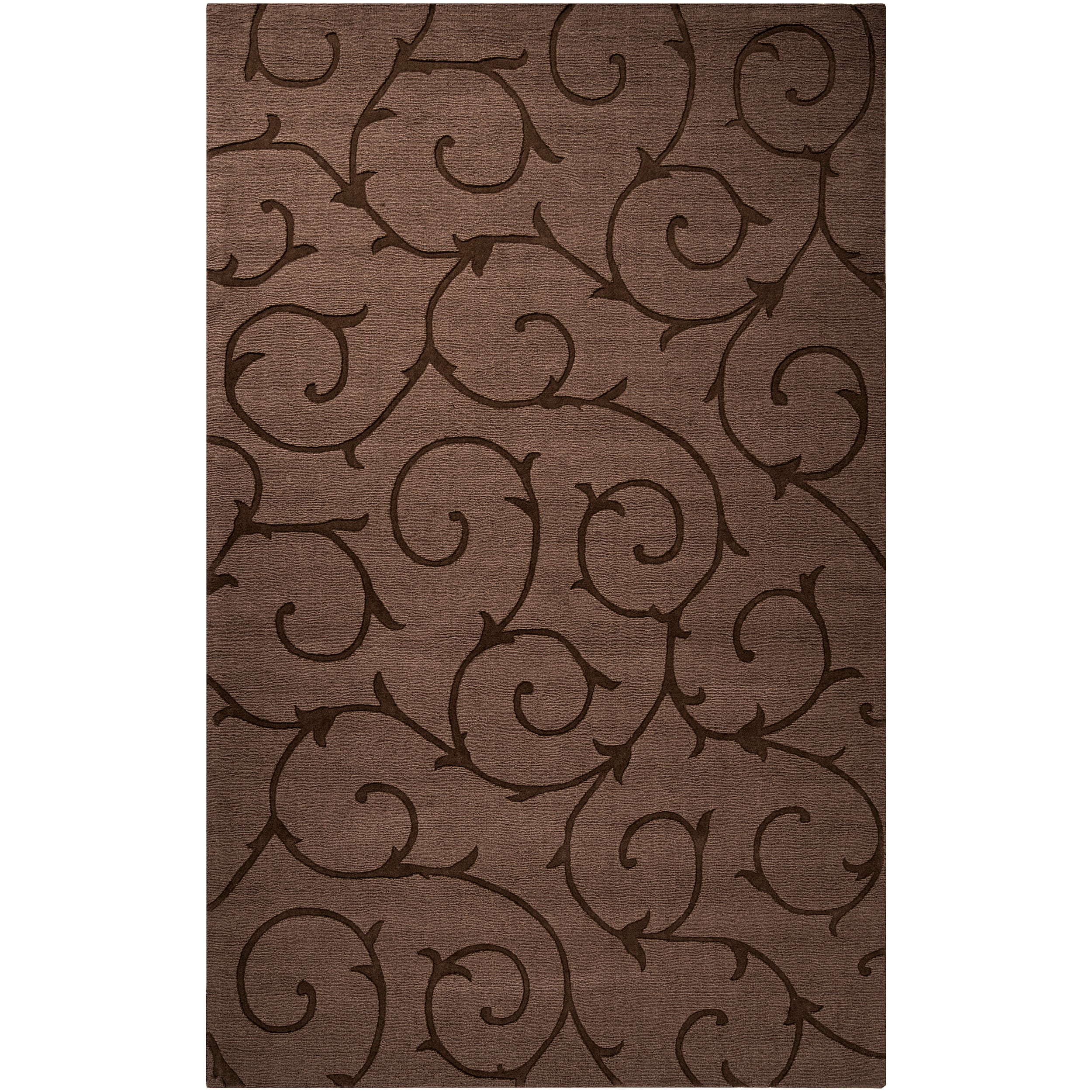 Handcrafted Contemporary Dark Brown Solid Swirl Bristol Wool Rug (9' x 12') - Thumbnail 0