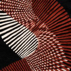 Hand-tufted Contemporary Black/Red Striped Artist Studio New Zealand Wool Abstract Rug (5' x 8') - Thumbnail 1