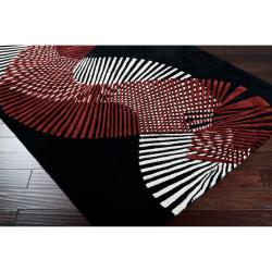Hand-tufted Contemporary Black/Red Striped Artist Studio New Zealand Wool Abstract Rug (5' x 8') - Thumbnail 2