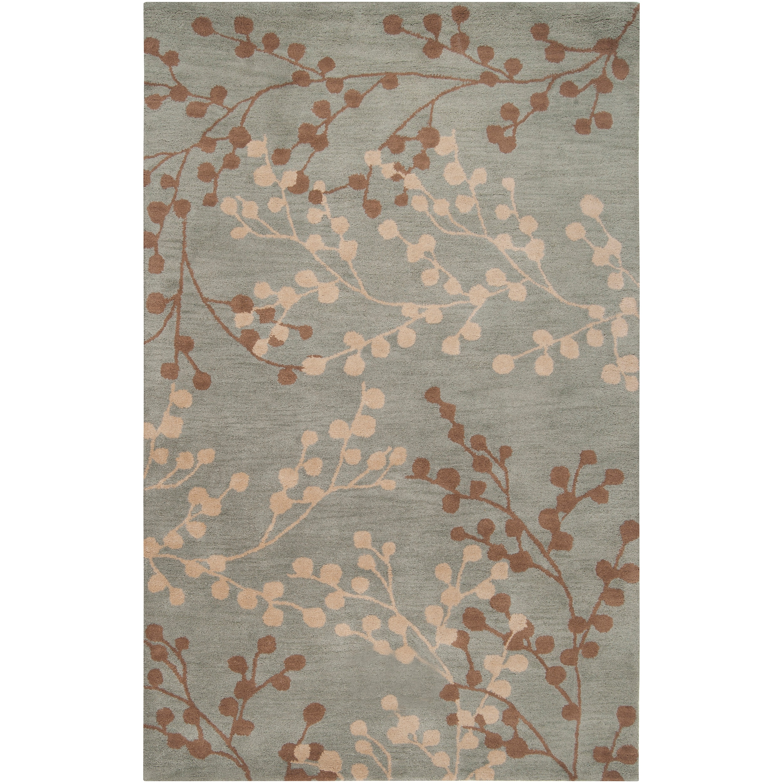 Hand-tufted Blossom Blue Wool Rug (3'6 x 5'6)